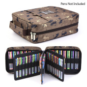 Pencil Case Holder Slot - Holds 202 Coloured Pencils or 136 Gel Pens with Zipper Closure - Large Capacity Polyester Pen Organiser for Watercolour Pens & Markers | Perfect Gift for Students & Artist coffee cat qianshan
