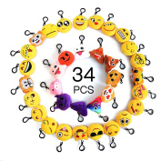 Moobom Mini Cute Stuffed Toy Plush pillow Smiley Poop Emoji Keychain Soft Party Bag Filler Key Ring for Kids Party Supplies Favours,Party Decoration Pack of 34