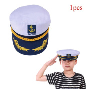 Waterstone Sailor Ship Boat Captain Hat Navy Marins Admiral Adjustable Cap White, Summer Hat For Men and Women, Children, Golden Leaves Embroidery Commander Cap Sailor Logo Man Sunhat Army Caps