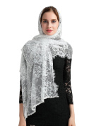 Lemandy Catholic Soft Ivory Veil Lace Church Veil Mantilla Wrap Shawl V025