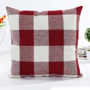 Indexp Lattice Retro Cushion Cover, Cotton Linen Room Sofa Printed Pillow Case