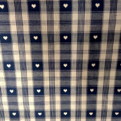 Heart Tartan Cheque Navy Blue and Beige Cotton Designer Material Sewing Upholstery Curtain Craft Fabric (Half metre)
