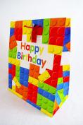 Large Happy Birthday Lego Building Block Design Gift Bag Multicoloured Kids Wrap