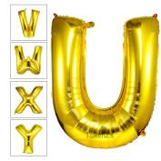 Takefubs 100cm Giant Jumbo Gold Helium Foil Mylar Balloons Alphabet A-Z Aluminium Letter Balloons For Birthday Party Decorations,Matte Gold,Letter U