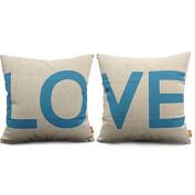Indexp 2 pcs LOVE Printing Cotton linen Throw Cushion Cover, Sofa Home Decoration Pillow case