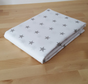 """3 Metres of 100% Cotton Fabric - Grey Stars On White - 64"""" (160 cm) Wide"""