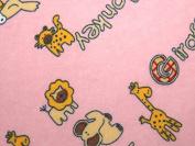 Animals Print Cotton Winceyette Flannel Dress Fabric Pink - per metre