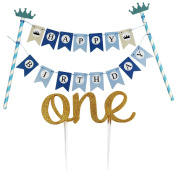 KUNGYO Mini Happy Birthday Cake Bunting Banner with Handmade 1st First Birthday Cake Topper Decoration – One- Double Sided Gold Glitter Stock