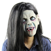 Latex Creepy Scary Halloween Toothy Zombie Ghost Mask Scary Emulsion Skin with Hair, Eco-Friendly Material Halloween Mask Sadako Pullover Horror Party Cosplay Mask