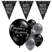 Black Silver Happy Birthday Balloon Pennant Flag Banner Party Decoration Pack