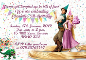 10 x Personalised Rapunzel Tangled Children Birthday Party Invitations