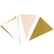 Shiningup 3m 15pcs Double Sided Glitter Gold White Pink Triangle Flag Bunting Banner for Wedding Birthday Baby Shower Home Teepee Decor Background Decorative