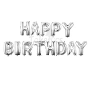 """41cm with 13 Letters""""HAPPY BIRTHDAY"""" Thickening Silver Mylar Air-filled Banner Balloons for Birthday & Party & Anniversary"""