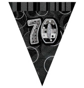 Happy 70th Birthday Flag Banner Bunting Decoration Party Pennant Holographic