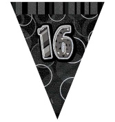 Happy 16th Birthday Flag Banner Bunting Decoration Party Pennant Holographic