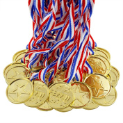 Biging 24 Pieces Children's Gold Winners Plastic Medals Kids Party Game Toys Prizes Awards