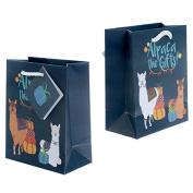 Funky Alpaca Design Small Glossy Gift Bag