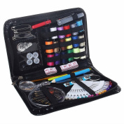 ofoen Sewing Kit, 91 Pieces Sewing Kit Portable Household Needlework Box Mini Multi-Coloured Household Sewing Thread Spools for Home Travel Emergency Use Black