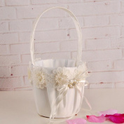 Cheap4uk Wedding Flower Girl Basket With Flowes Pearls Satin Ribbons Bow Rhinestone Wedding Party Decorations Gift Candy Basket