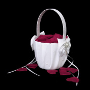 Cheap4uk Wedding Flower Basket With Faux Pearl Satin Bowknot Decor