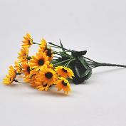 ALCYONEUS 1 Bouquet 14 Heads Fake Small Sunflower Artificial Flower Home Wedding Decor