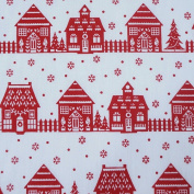 White Polycotton Fabric with Red Christmas Houses