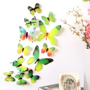 Wall Sticker, Chshe 3D 12pcs Rainbow Butterfly Removable Wall Decal Family Room Home Sticker Mural Art Home Decor for Fridge Furniture Living Room Bedroom TV Background Wall