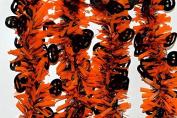 Orange & Black Halloween Tinsel with Hanging Black Pumpkins x 2 Metre Length!