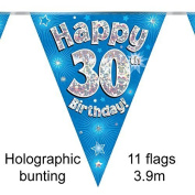 Happy 30th Birthday Blue Holographic Foil Party Bunting 3.9m Long 11 Flags by Oak Tree