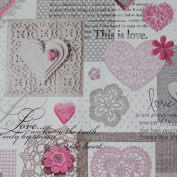 "White Shabby Chic ""Love"" Heart Lace Floral PVC Tablecloth Cover Fabric - Pink"