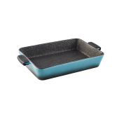 axentia Stoneware Baking Dish Sorrel - Non-Stick Lasagna Dish in Blue with Detachable Silicone Grips - Ceramic Cookware for Cooking and Baking - Lasagna Dish Roasting Pan Non Stick - Cookware