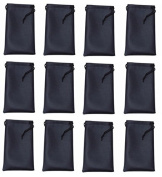 Twelve 12-Pack - Black Microfiber Cleaning And Storage Pouch/Sack/Case For Sunglasses And Eyeglasses