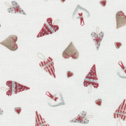 Christmas Hearts fabric - Mulled Wine Red, Icy Winter Grey and Gingerbread Biscuit on Cream White base cloth | 100% Cotton Designer Print | 160 cm (63 inches) wide | Per half metre length increment*