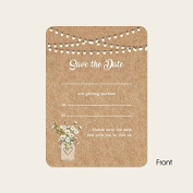 Rustic Mason Jar Flowers - Save the Date Cards - Pack of 10