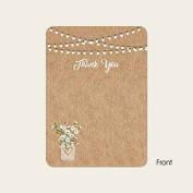 Rustic Mason Jar Flowers - Wedding Thank You Cards - Pack of 10