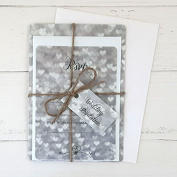 Silver Heart Pattern - Wedding Invitations & RSVP - Pack of 10