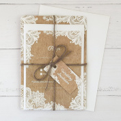 Rustic Lace Pattern - Wedding Invitations & RSVP - Pack of 10