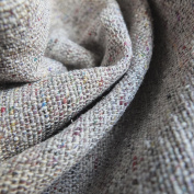 100% Silk Fabric - Hand woven linen look - natural colour with multi coloured flecks - Sold by the Metre