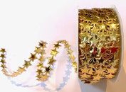 Bertie's Bows Gold Satin 10mm Star Cutout sold by the metre