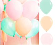 30-Count 25cm Mixed Pastel Peach Pink Mint Green Latex Balloon Wedding Birthday Christening Girl Baby Shower Party Decoration