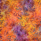"""Fabric Freedom Batik Print Quilting Patchwork Craft Fabric Purple Yellow and Orange Flower Pattern Width 45"""" (114 cm)– Priced by Quarter Metre."""