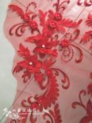 A1 3D beaded sequence lace applique motif sewing bridal wedding 40cm*20cm