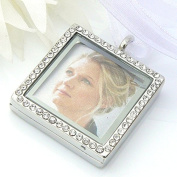 Square Crystal Picture Frame Bouquet Charm - Memory Locket - Brides Keepsake