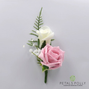 Artificial Wedding Flowers Hand-made by Petals Polly, DOUBLE FOAM ROSE BUTTONHOLE IN ANTIQUE PINK & IVORY