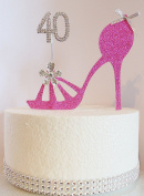 40th Hot Pink Birthday Cake Decoration. Shoe Design with Diamante Crystal Number AGE 40