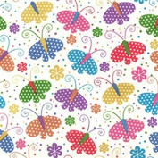 Butterfly Print Polycotton Fabric Material For Textile Craft