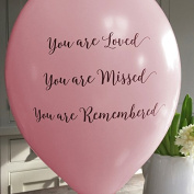 10 Pale Pink 'You are Loved, Missed, Remembered' Funeral Remembrance Balloons - by Angel & Dove