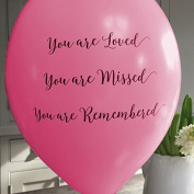 10 Bright Pink 'You are Loved, Missed, Remembered' Funeral Remembrance Balloons - by Angel & Dove