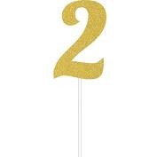 Milestone Gold Glitter Birthday Cake Topper Age 2