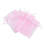 """iShine 100pcs Pure Colour Organza Gift Bags Wedding Party Favour Bags Jewellery Pouches Wrap 2.7""""x3.5""""/7x9cm Pink"""